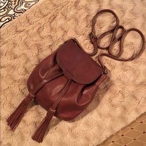 LUCKY BRAND brown leather Jordan mini crossbody